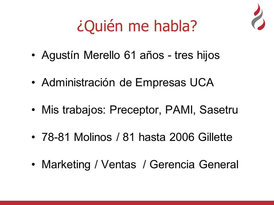 ¿Quién me habla? Agustín Merello 61 años - tres hijos Administración de Empresas UCA Mis trabajos: Preceptor, PAMI, Sasetru 78-81 Molinos / 81 hasta 2