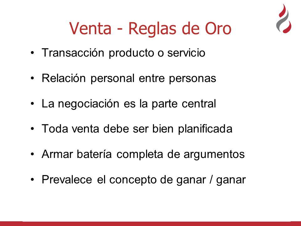 Venta - Reglas de Oro Transacción producto o servicio Relación personal entre personas La negociación es la parte central Toda venta debe ser bien pla