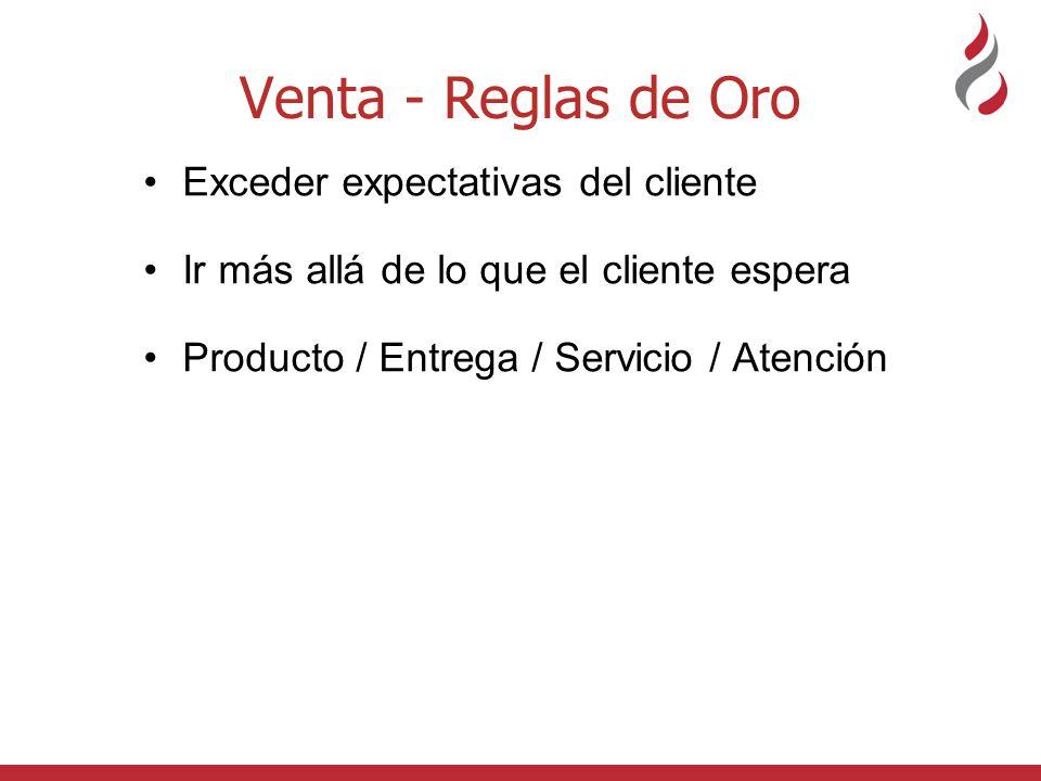 Venta - Reglas de Oro Exceder expectativas del cliente Ir más allá de lo que el cliente espera Producto / Entrega / Servicio / Atención Los clientes son fuente de información Hablar con los clientes cara a cara La empatía - entonces me comprende