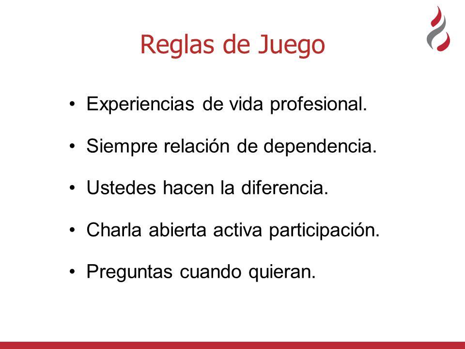 Reglas de Juego Experiencias de vida profesional. Siempre relación de dependencia. Ustedes hacen la diferencia. Charla abierta activa participación. P