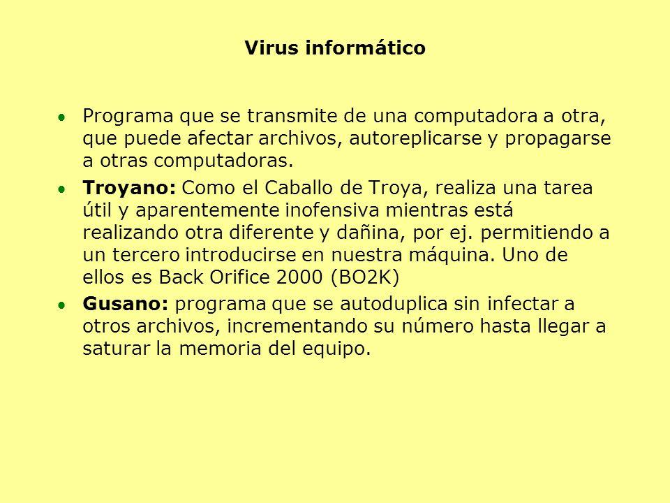 Virus informático Programa que se transmite de una computadora a otra, que puede afectar archivos, autoreplicarse y propagarse a otras computadoras.