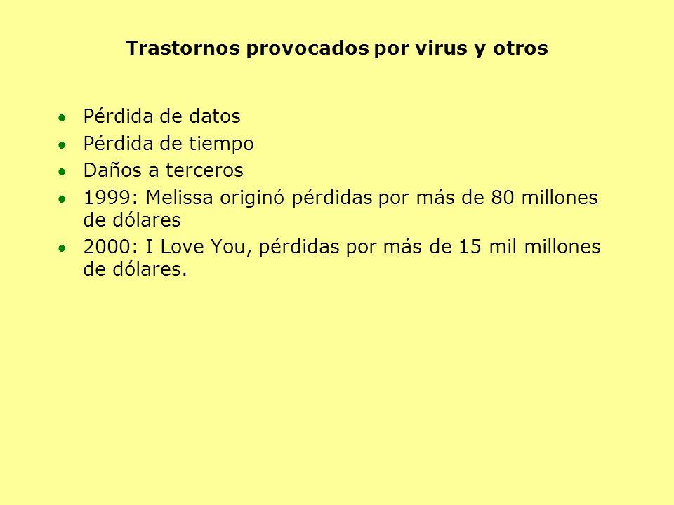 Trastornos provocados por virus y otros Pérdida de datos Pérdida de tiempo Daños a terceros 1999: Melissa originó pérdidas por más de 80 millones de dólares 2000: I Love You, pérdidas por más de 15 mil millones de dólares.