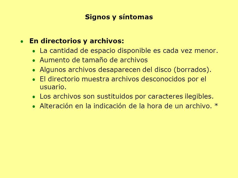 Signos y síntomas En directorios y archivos: La cantidad de espacio disponible es cada vez menor. Aumento de tamaño de archivos Algunos archivos desap