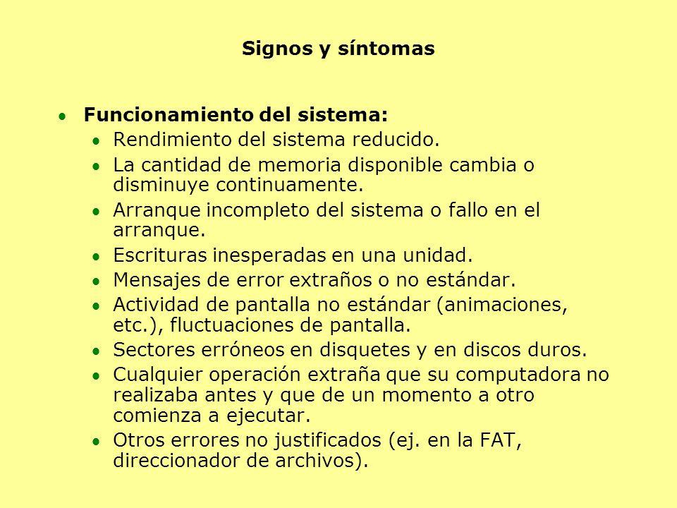 Signos y síntomas Funcionamiento del sistema: Rendimiento del sistema reducido. La cantidad de memoria disponible cambia o disminuye continuamente. Ar