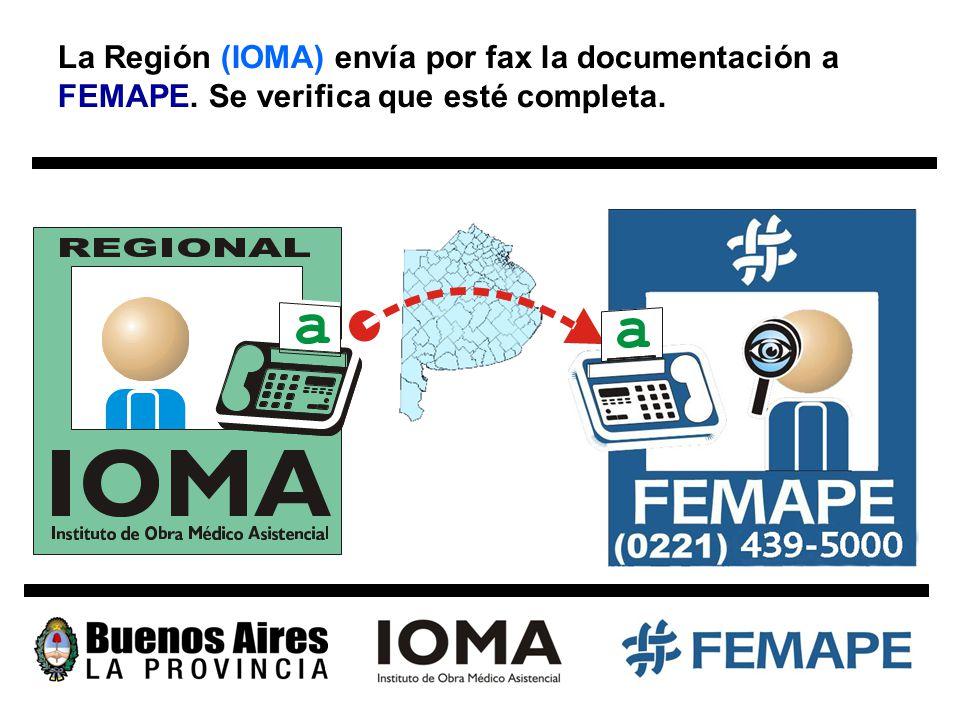 La Región (IOMA) envía por fax la documentación a FEMAPE. Se verifica que esté completa.