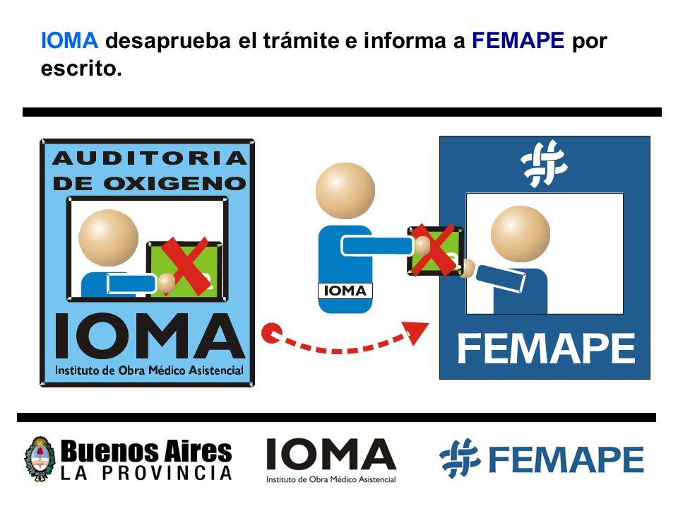 IOMA desaprueba el trámite e informa a FEMAPE por escrito.
