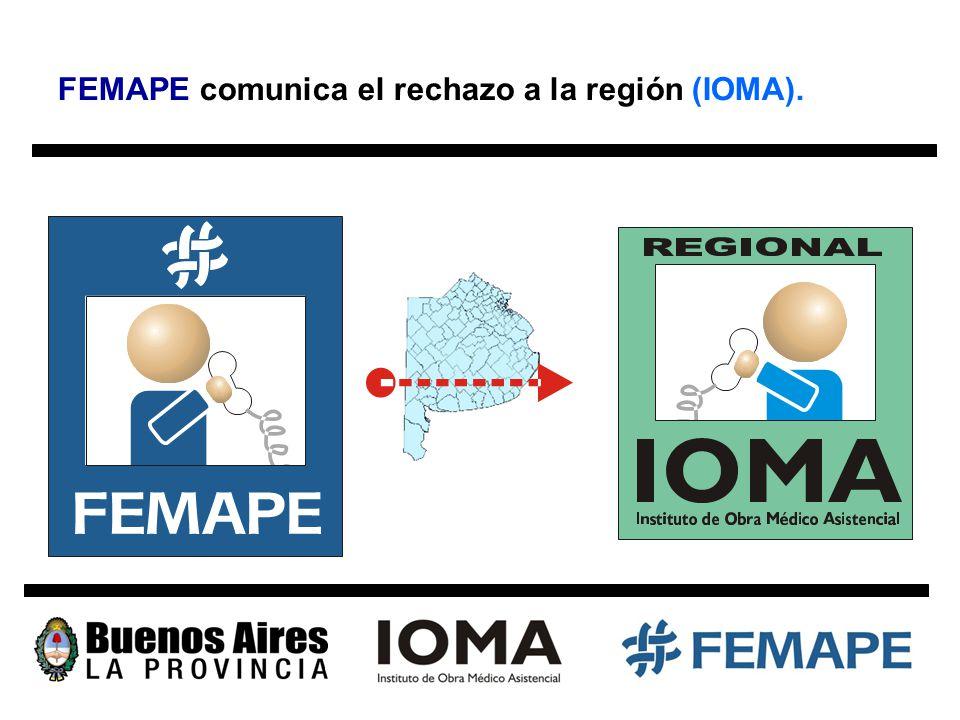 FEMAPE comunica el rechazo a la región (IOMA).