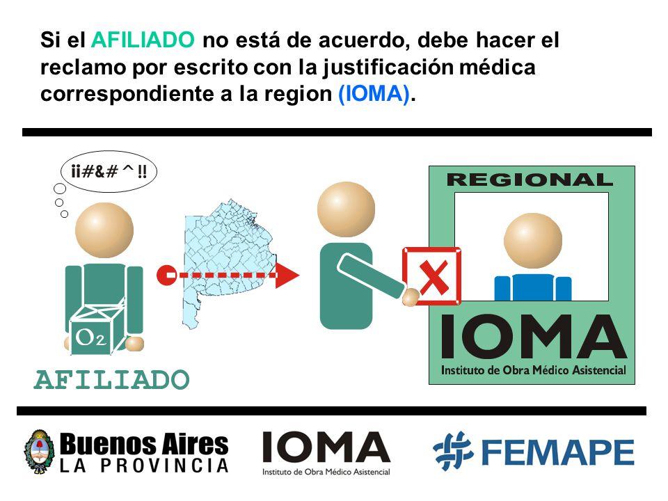 Si el AFILIADO no está de acuerdo, debe hacer el reclamo por escrito con la justificación médica correspondiente a la region (IOMA).