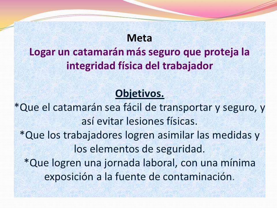 Meta Logar un catamarán más seguro que proteja la integridad física del trabajador Objetivos.