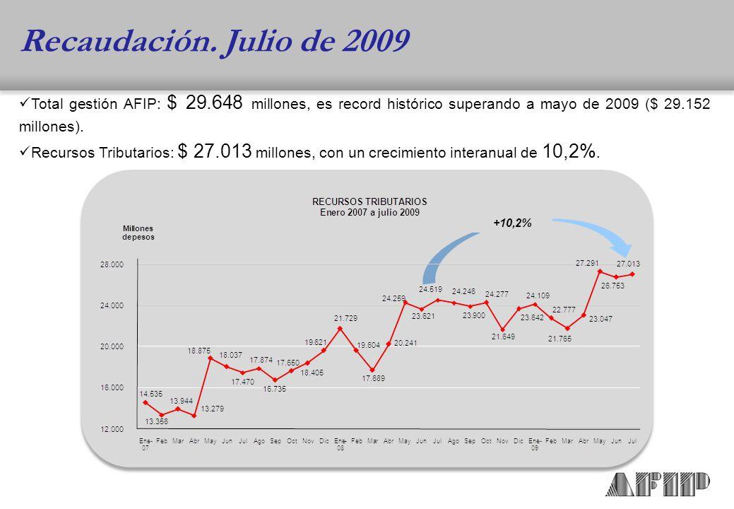 Total gestión AFIP: $ 29.648 millones, es record histórico superando a mayo de 2009 ($ 29.152 millones).