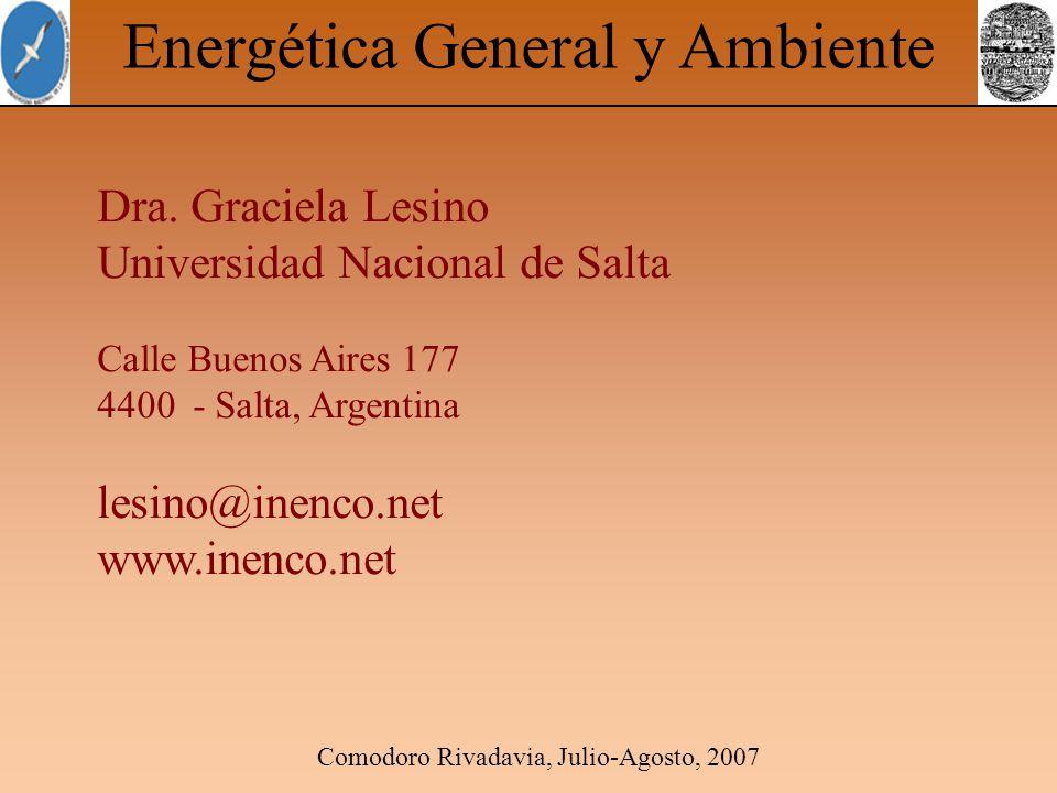 Comodoro Rivadavia, Julio-Agosto, 2007 Energética General y Ambiente Dra. Graciela Lesino Universidad Nacional de Salta Calle Buenos Aires 177 4400 -