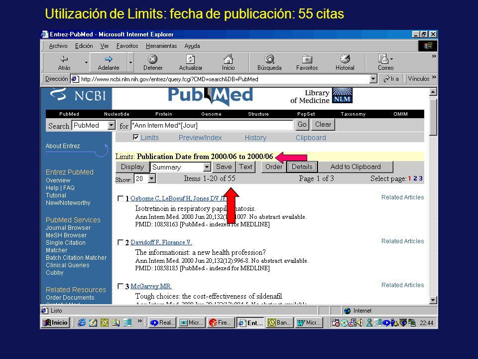 Utilización de Limits: fecha de publicación: 55 citas