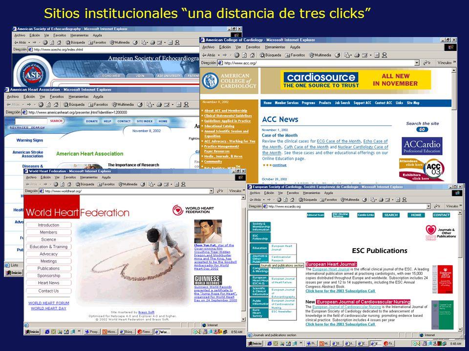 Sitios institucionales una distancia de tres clicks