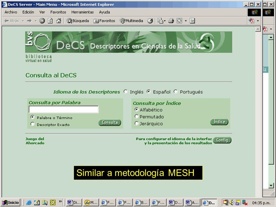 Similar a metodología MESH