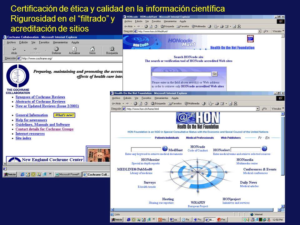 Certificación de ética y calidad en la información científica Rigurosidad en el filtrado y acreditación de sitios