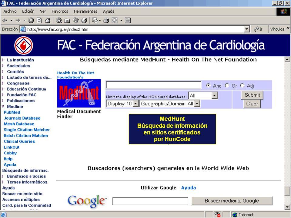 MedHunt Búsqueda de información en sitios certificados por HonCode