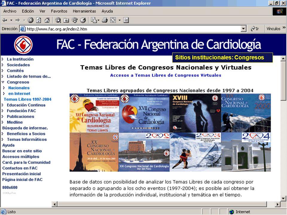Sitios institucionales: Congresos