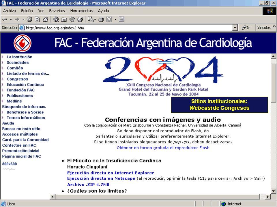 Sitios institucionales: Webcast de Congresos