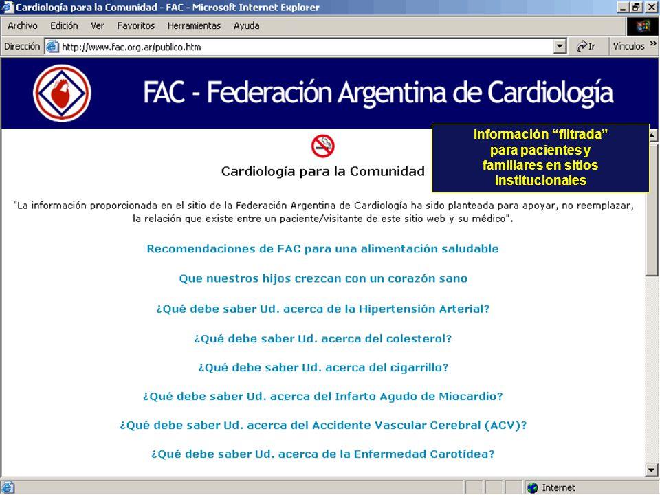 Información filtrada para pacientes y familiares en sitios institucionales