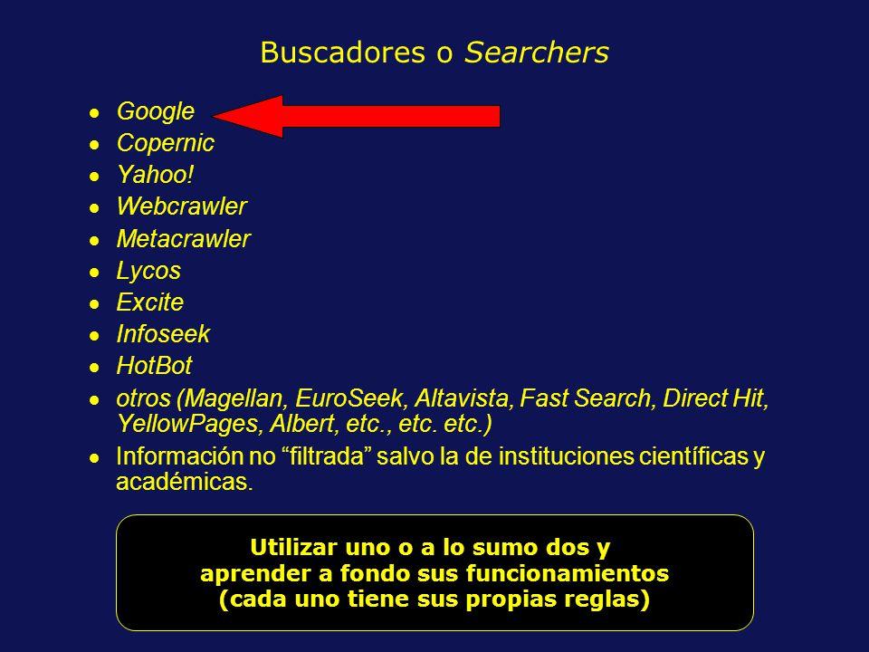 Buscadores o Searchers Google Copernic Yahoo.