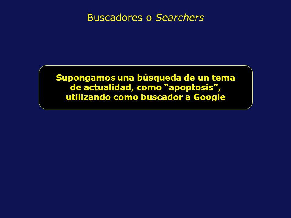 Buscadores o Searchers Supongamos una búsqueda de un tema de actualidad, como apoptosis, utilizando como buscador a Google