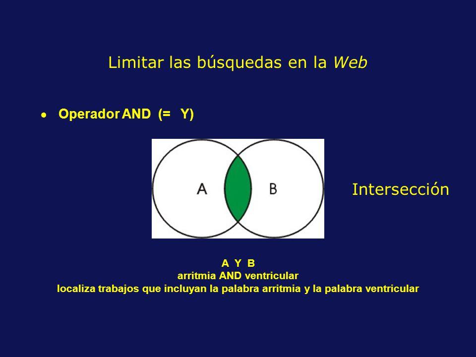 Operador AND (= Y) A Y B arritmia AND ventricular localiza trabajos que incluyan la palabra arritmia y la palabra ventricular Limitar las búsquedas en la Web Intersección