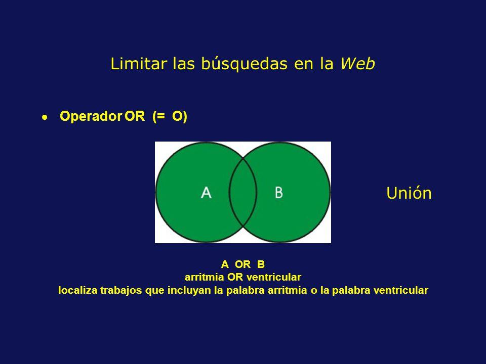 Operador OR (= O) A OR B arritmia OR ventricular localiza trabajos que incluyan la palabra arritmia o la palabra ventricular Limitar las búsquedas en la Web Unión