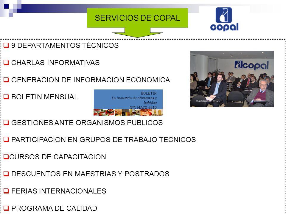 9 DEPARTAMENTOS TÉCNICOS CHARLAS INFORMATIVAS GENERACION DE INFORMACION ECONOMICA BOLETIN MENSUAL GESTIONES ANTE ORGANISMOS PUBLICOS PARTICIPACION EN GRUPOS DE TRABAJO TECNICOS CURSOS DE CAPACITACION DESCUENTOS EN MAESTRIAS Y POSTRADOS FERIAS INTERNACIONALES PROGRAMA DE CALIDAD BOLETIN La industria de alimentos y bebidas Nº1 MAYO 2010 SERVICIOS DE COPAL