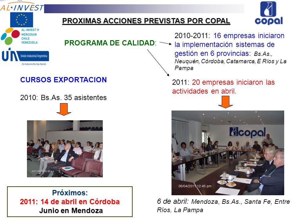 PROXIMAS ACCIONES PREVISTAS POR COPAL PROGRAMA DE CALIDAD: 2011: 20 empresas iniciaron las actividades en abril.