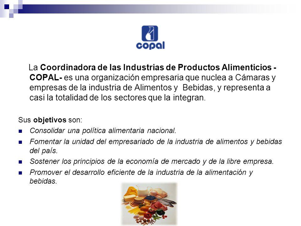 La Coordinadora de las Industrias de Productos Alimenticios - COPAL- es una organización empresaria que nuclea a Cámaras y empresas de la industria de