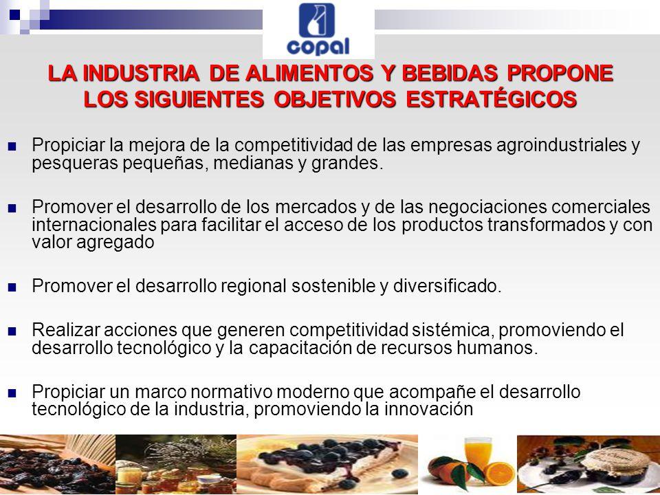 LA INDUSTRIA DE ALIMENTOS Y BEBIDAS PROPONE LOS SIGUIENTES OBJETIVOS ESTRATÉGICOS Propiciar la mejora de la competitividad de las empresas agroindustriales y pesqueras pequeñas, medianas y grandes.