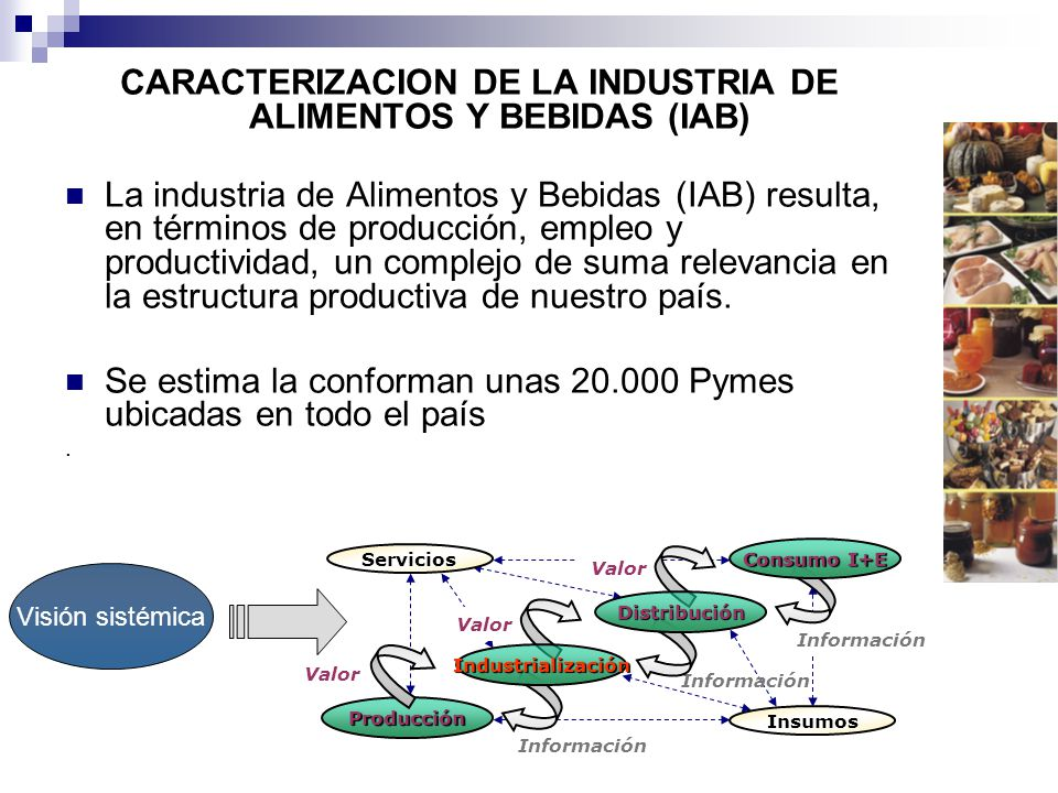 CARACTERIZACION DE LA INDUSTRIA DE ALIMENTOS Y BEBIDAS (IAB) La industria de Alimentos y Bebidas (IAB) resulta, en términos de producción, empleo y productividad, un complejo de suma relevancia en la estructura productiva de nuestro país.