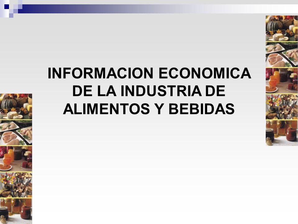 Valor de la Producción: $ 215.620 millones Valor agregado, % del PBI total de Argentina: 4,6% Valor agregado, % del PBI Industria Manufacturera: 25,0% Exportaciones IAB en valor: u$s 22.580 millones Participación en las expo totales de Argentina en valor: 33,0% Importaciones IAB en valor: u$s 1.380 millones Participación en las impo totales de Argentina en valor: 2,4% Empleo directo, en puestos de trabajo: 498.800 Empleo indirecto, en puestos de trabajo: 1.272.000 Utilización de la capacidad instalada (promedio anual): 75,9% Cantidad de empresas: se estiman más de 20.000 LA INDUSTRIA DE ALIMENTOS Y BEBIDAS Datos estimados 2010
