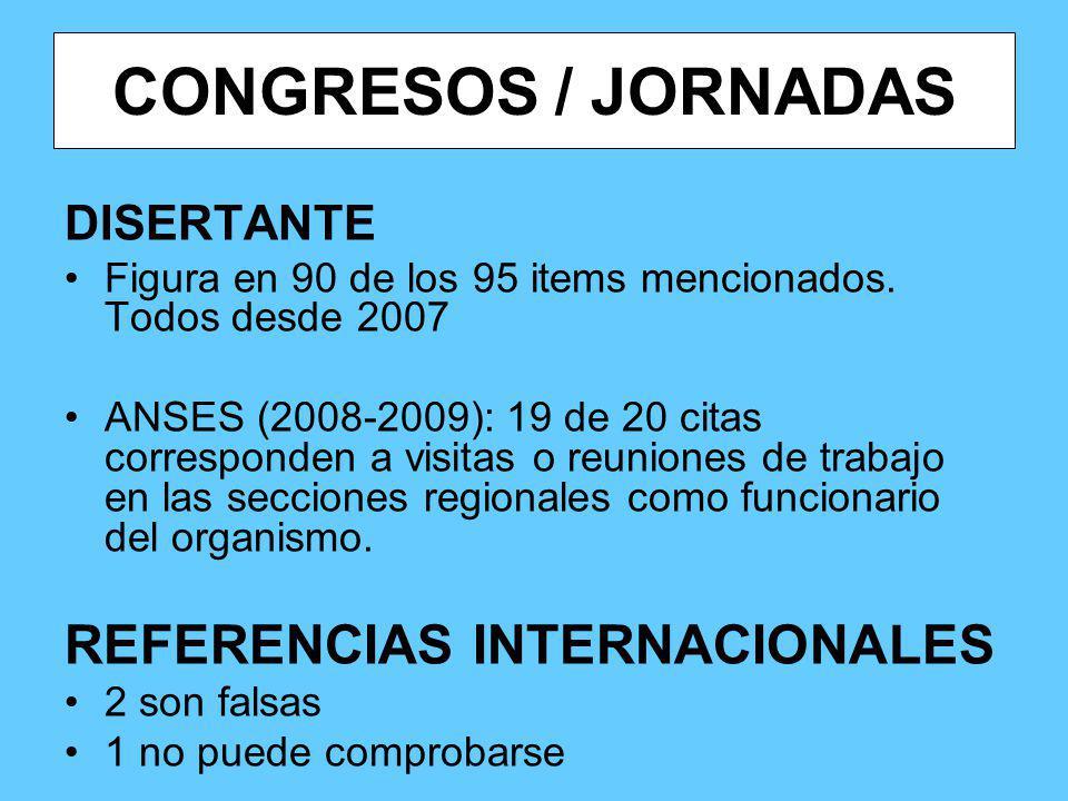 CONGRESOS / JORNADAS DISERTANTE Figura en 90 de los 95 items mencionados. Todos desde 2007 ANSES (2008-2009): 19 de 20 citas corresponden a visitas o