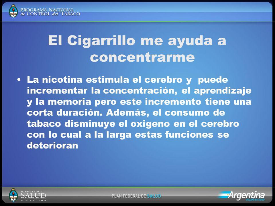 El Cigarrillo me ayuda a concentrarme La nicotina estimula el cerebro y puede incrementar la concentración, el aprendizaje y la memoria pero este incremento tiene una corta duración.