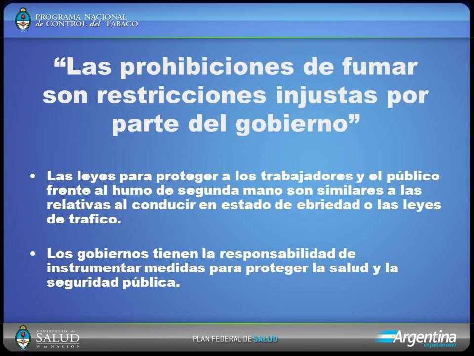 Las prohibiciones de fumar son restricciones injustas por parte del gobierno Las leyes para proteger a los trabajadores y el público frente al humo de segunda mano son similares a las relativas al conducir en estado de ebriedad o las leyes de trafico.
