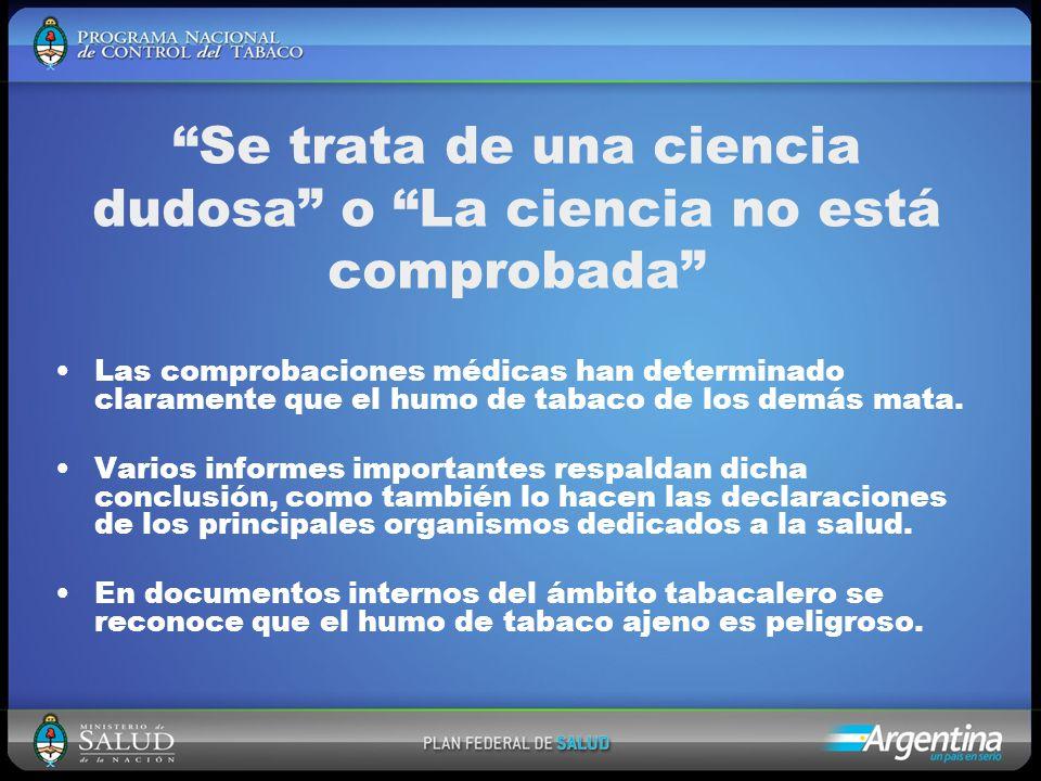 Se trata de una ciencia dudosa o La ciencia no está comprobada Las comprobaciones médicas han determinado claramente que el humo de tabaco de los demás mata.