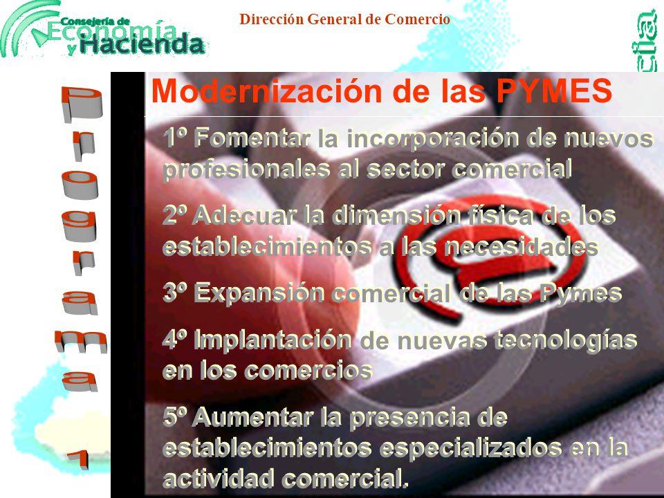 Dirección General de Comercio Modernización de la Pyme Comercial Andaluza Cooperación Empresarial Ordenación Territorial del Comercio Formación Comercial Información, Investigación e Innovación Comercial Ordenación Comercial Articulación del Comercio con el Tejido Productivo Andaluz