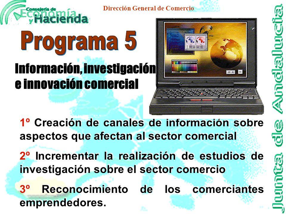 Dirección General de Comercio 1º Apoyo a la introducción e implantación de áreas de conocimiento re- lacionadas con la distribución comercial. 2º Prom