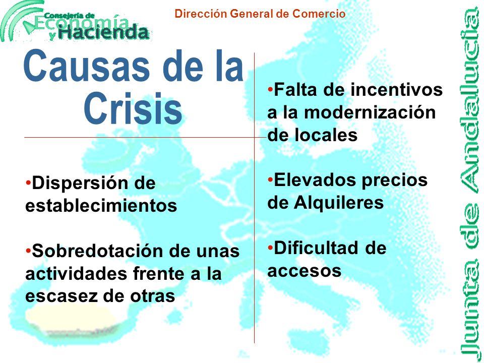 Dirección General de Comercio Causas de la Crisis n Aparición de las Grandes Superficies n Desplazamiento de la población a zonas residenciales alejad