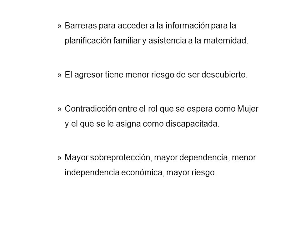 »Barreras para acceder a la información para la planificación familiar y asistencia a la maternidad.