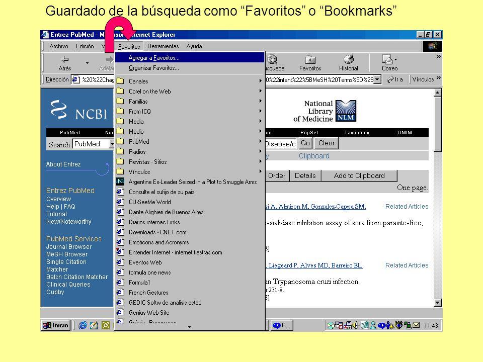 Guardado de la búsqueda como Favoritos o Bookmarks