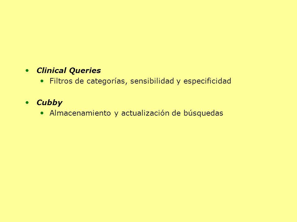Clinical Queries Filtros de categorías, sensibilidad y especificidad Cubby Almacenamiento y actualización de búsquedas
