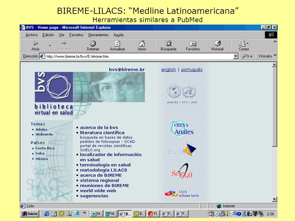 BIREME-LILACS: Medline Latinoamericana Herramientas similares a PubMed