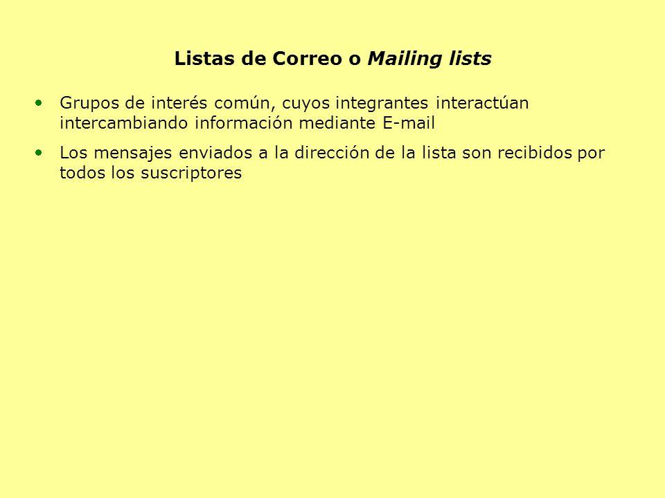 Listas de Correo o Mailing lists Grupos de interés común, cuyos integrantes interactúan intercambiando información mediante E-mail Los mensajes enviados a la dirección de la lista son recibidos por todos los suscriptores