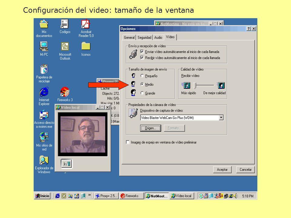 Configuración del video: tamaño de la ventana