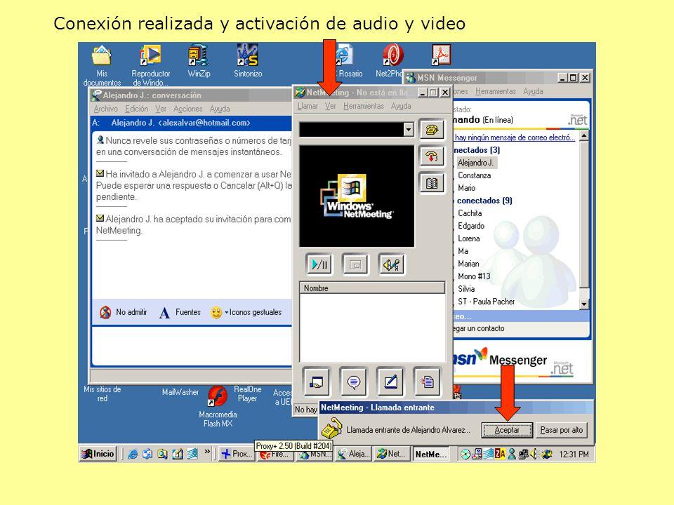 Conexión realizada y activación de audio y video