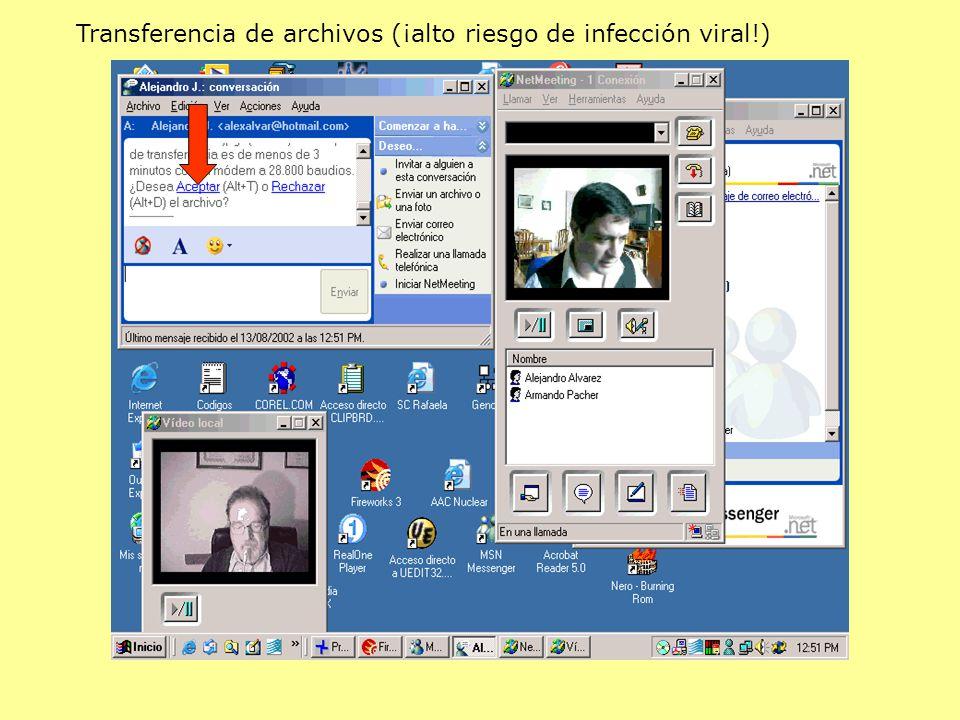 Transferencia de archivos (¡alto riesgo de infección viral!)