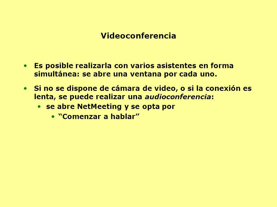 Videoconferencia Es posible realizarla con varios asistentes en forma simultánea: se abre una ventana por cada uno.