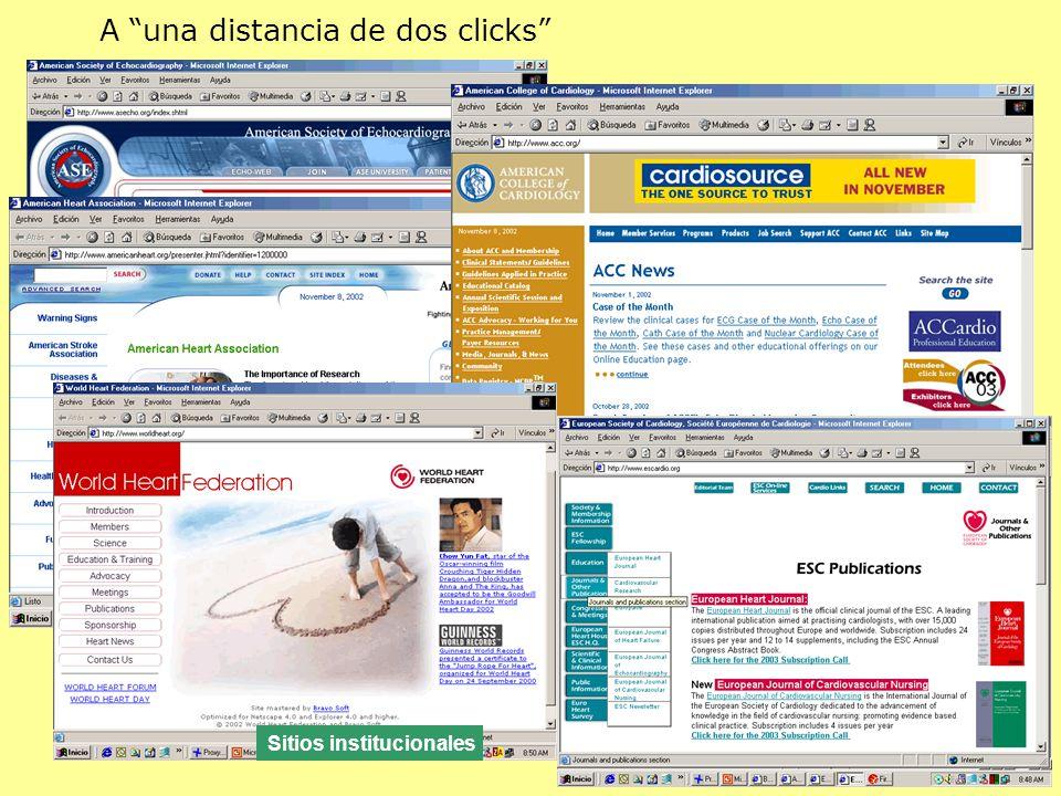 A una distancia de dos clicks Sitios institucionales